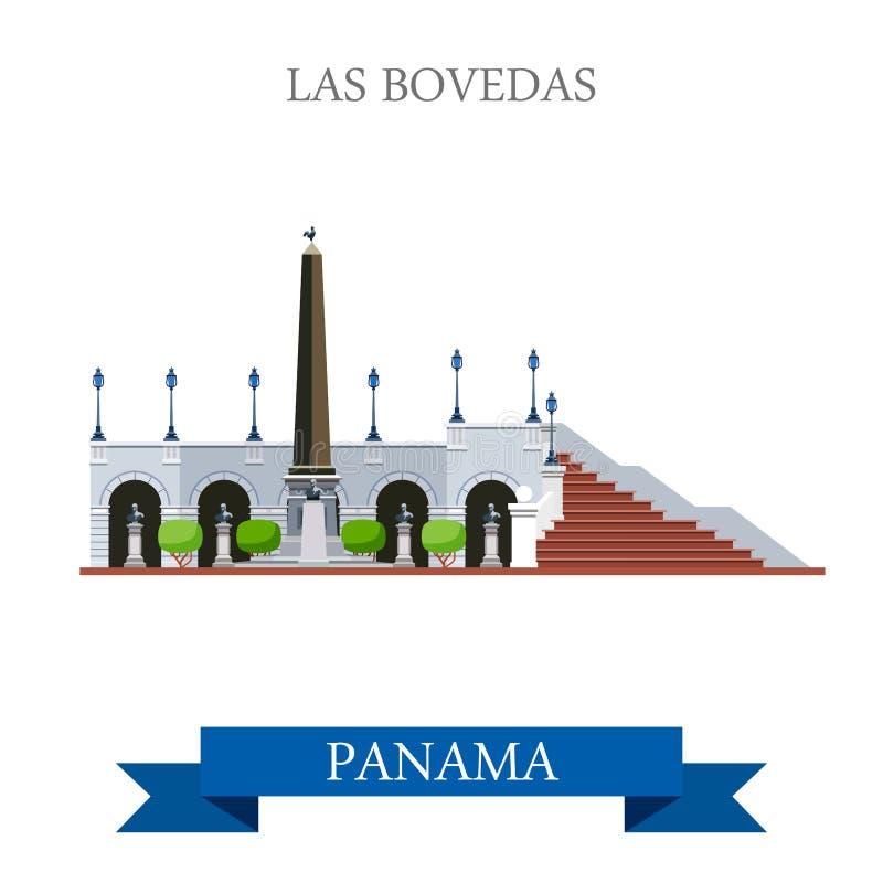 在巴拿马传染媒介平的吸引力地标的Las Bovedas 向量例证