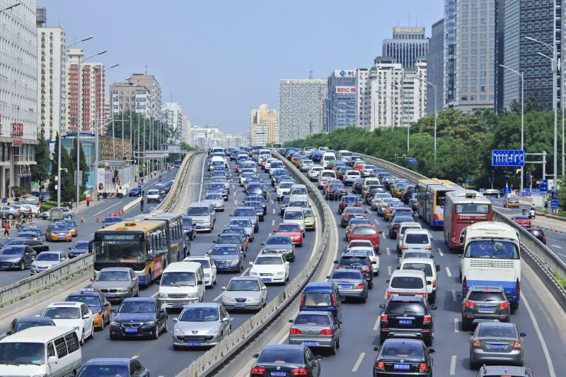 在财政街道,北京,中国上的交通堵塞 免版税图库摄影