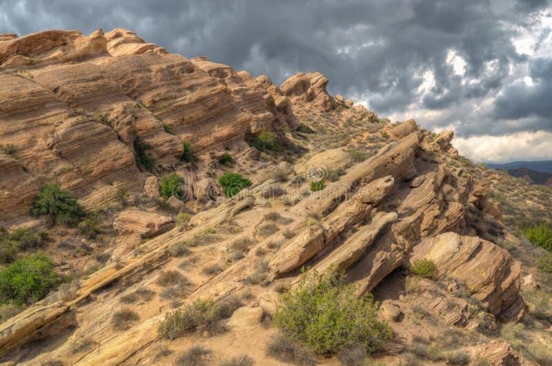 在巴斯克斯岩石的壮观的岩层 免版税库存照片