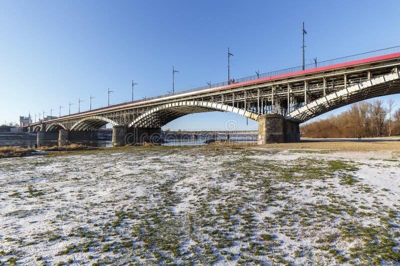 在维斯瓦河的桥梁在华沙 库存图片