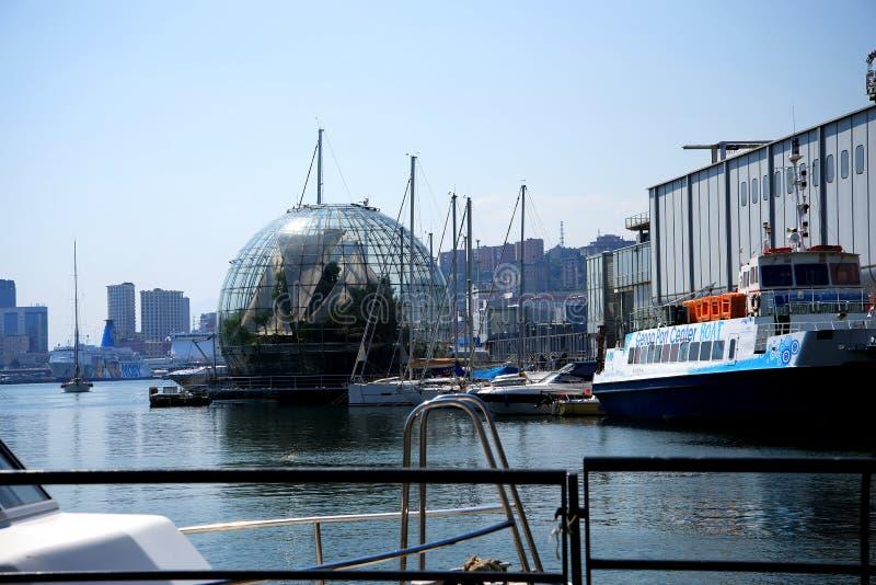 在水族馆的Ecosphere在热那亚意大利 免版税库存图片