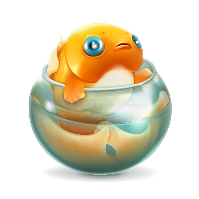 在水族馆,传染媒介的金鱼 库存例证