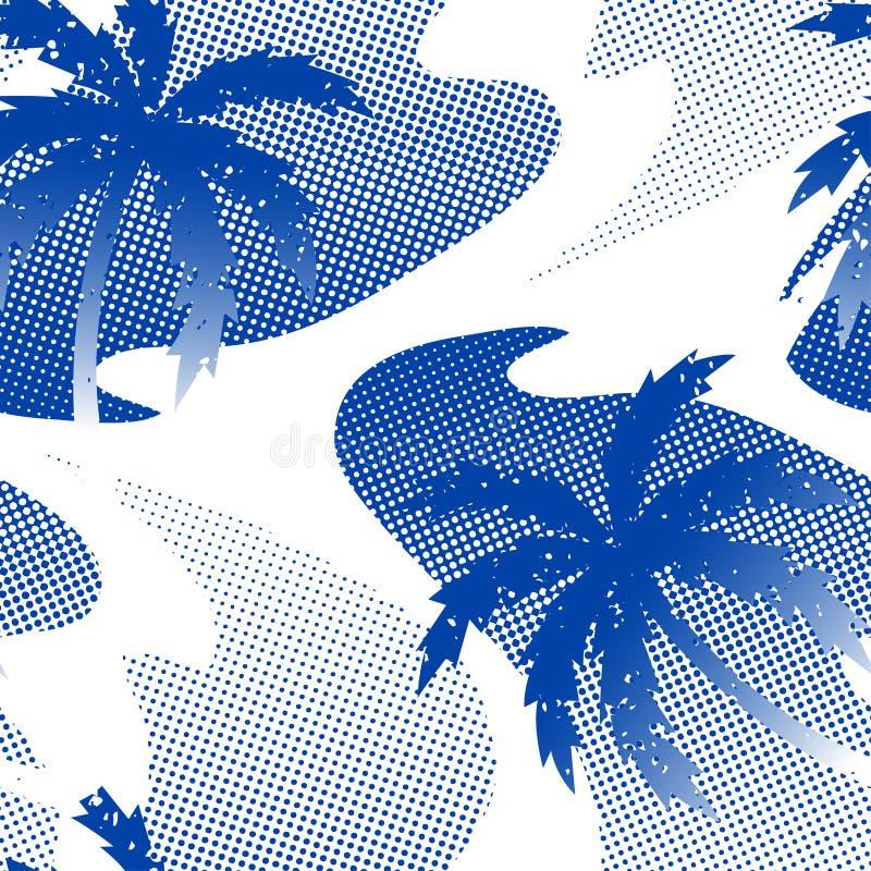 在水无缝的样式的抽象棕榈树反射 皇族释放例证