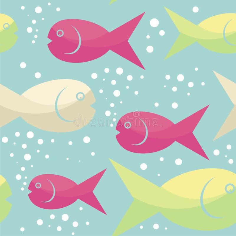在水无缝的样式设计下的滑稽的鱼 向量例证