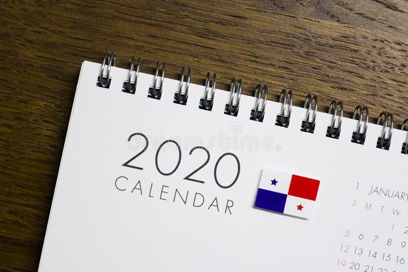 在2020日历的巴拿马旗子 免版税库存图片