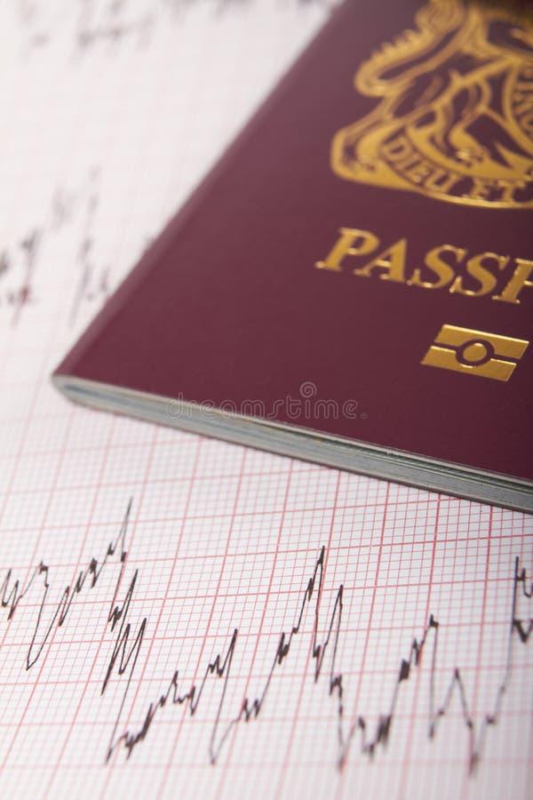 在说明捉住Illne的风险的ECG打印输出的英国护照 免版税库存照片