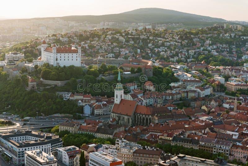 在黄昏的布拉索夫城堡,斯洛伐克 库存照片