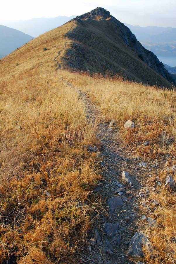 在黄昏的桃红色天狮单山 库存照片