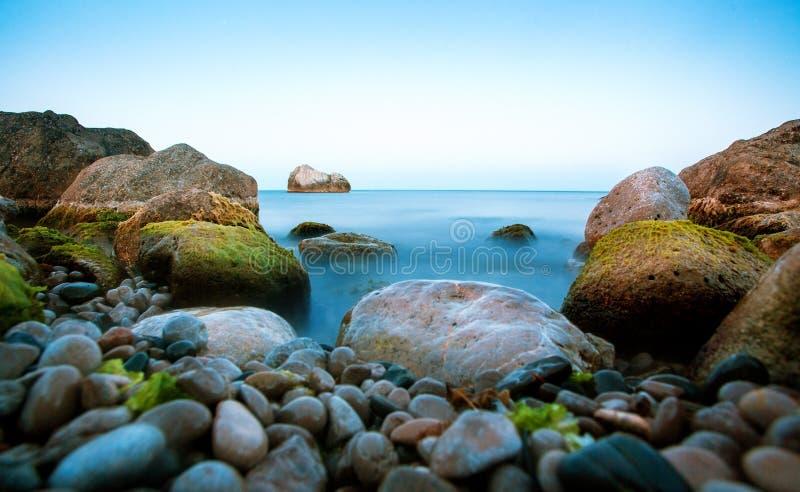 在黄昏的海景 库存图片