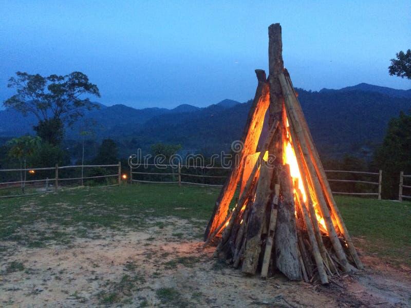 在黄昏的篝火 免版税库存照片