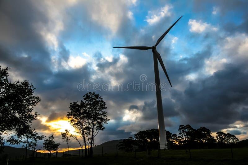 在黄昏的风轮机 库存照片