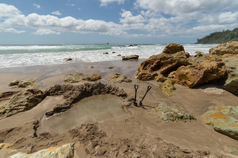 在水星海湾,新西兰的热水海滩 免版税图库摄影
