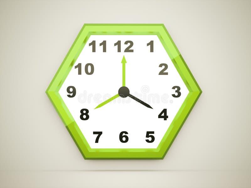 在黑暗回报的绿色六角时钟 库存例证