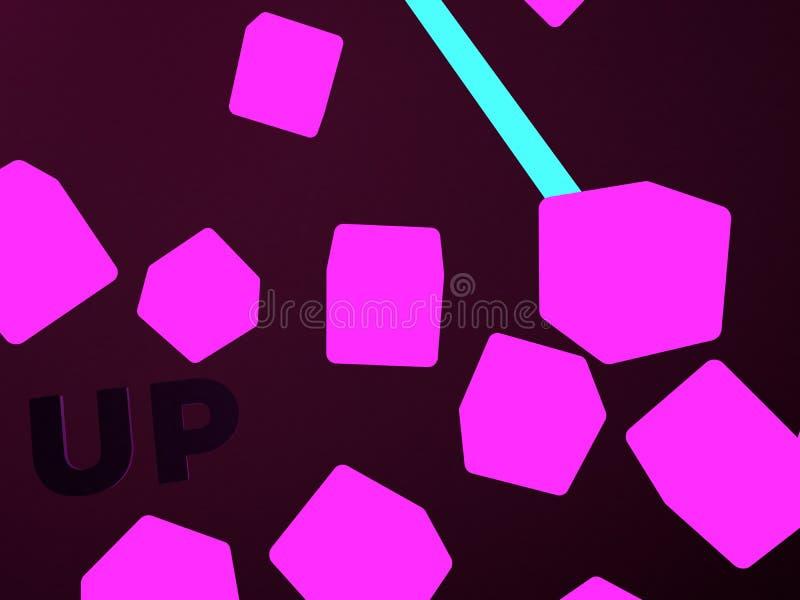 在黑暗的桃红色立方体的抽象飞行 向量例证