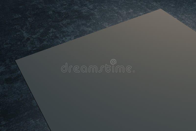 在黑暗的桌面上的灰色纸 向量例证