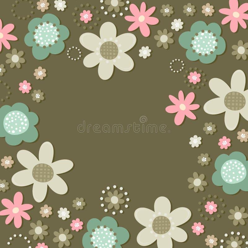 在黑暗的浪漫花卉植物的框架卡片 库存例证