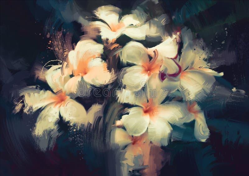 在黑暗的白花 向量例证