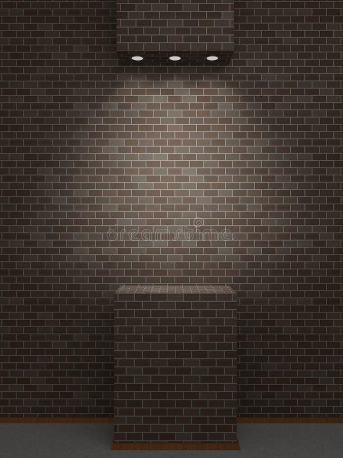 在黑暗的砖墙上的一个被点燃的适当位置 库存例证