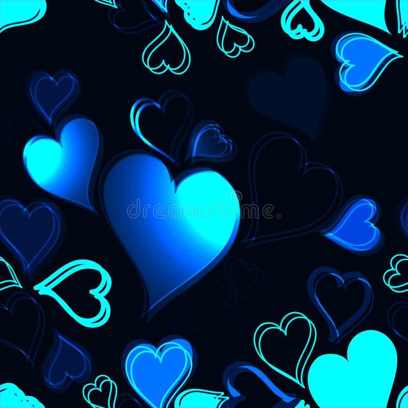在黑暗的背景无缝的样式的光亮的蓝色心脏 皇族释放例证