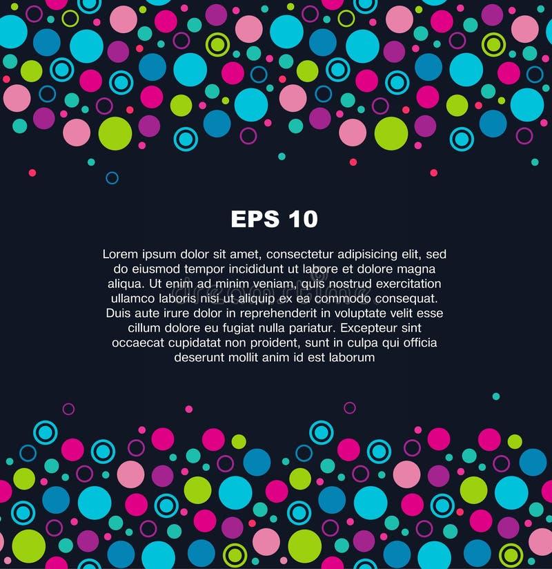 在黑暗的背景的五颜六色的几何横幅 与许多多色圈子的滑稽的边界 向量例证