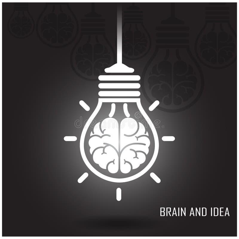 在黑暗的背景的创造性的脑子想法概念 库存例证