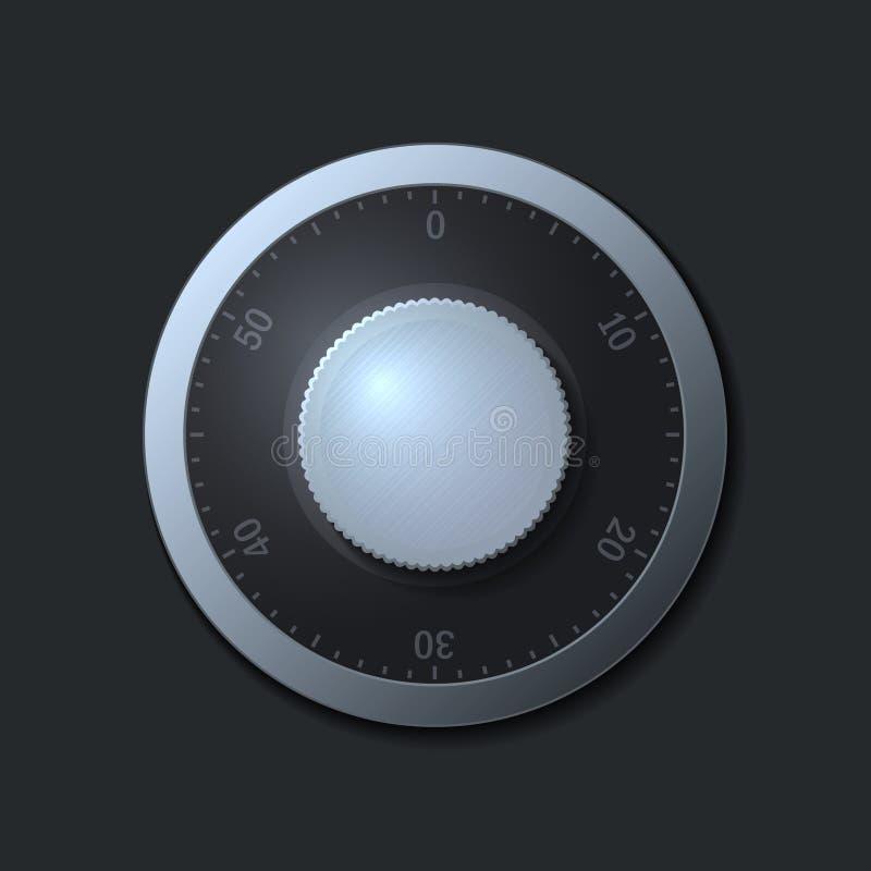 在黑暗的背景的号码锁轮子。传染媒介 库存例证