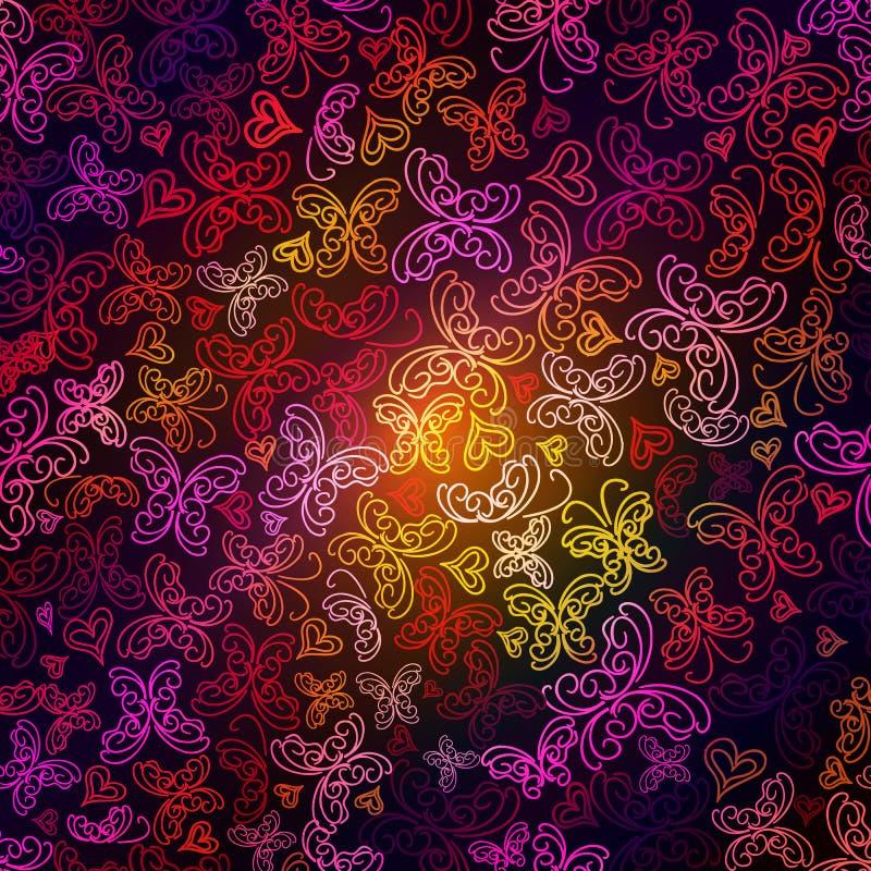 在黑暗的背景的多彩多姿的蝴蝶剪影 向量例证