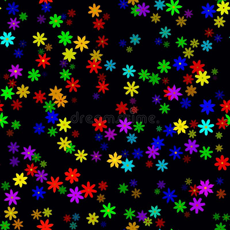 在黑暗的背景的抽象五颜六色的花卉样式 例证无缝的向量 向量例证
