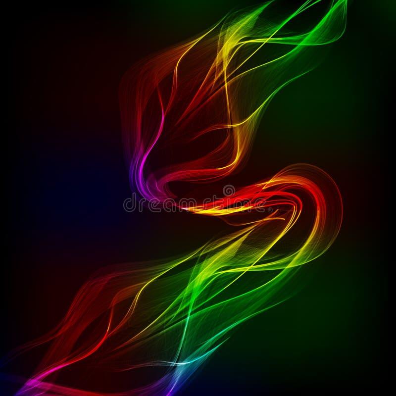 在黑暗的背景的抽象设计五颜六色的波浪 向量例证