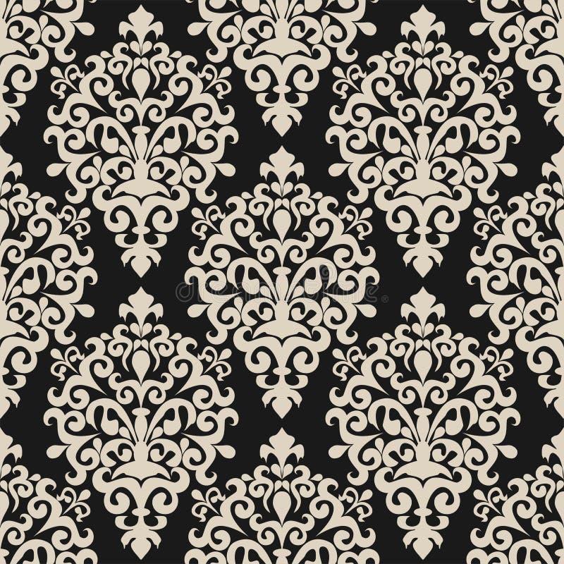 在黑暗的背景的无缝的花卉锦缎墙纸设计的 皇族释放例证