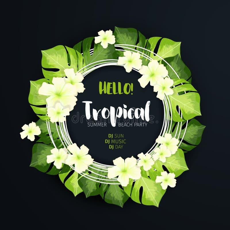 在黑暗的背景的热带海滩党圈子横幅 与绿色叶子和白花的花卉f 向量例证