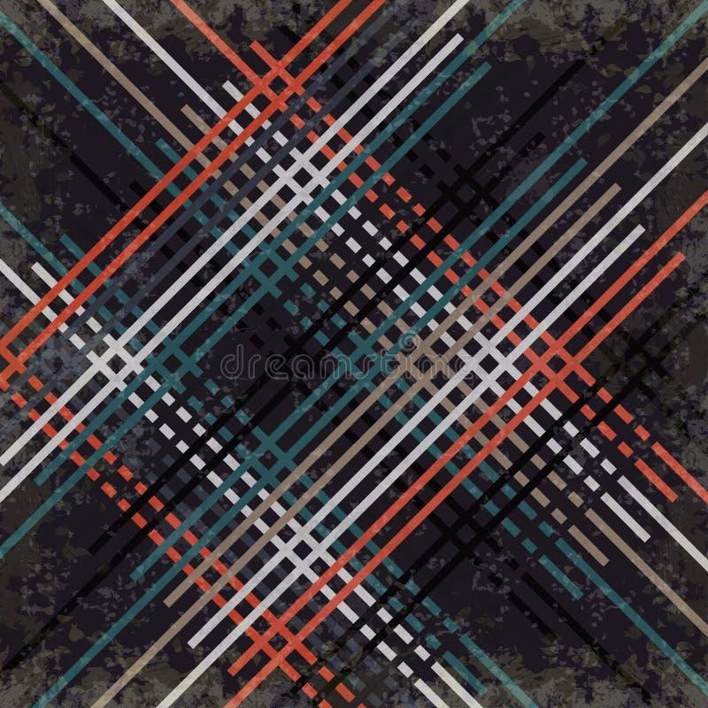 在黑暗的背景的红色黑蓝色和灰色线导航例证难看的东西作用 向量例证