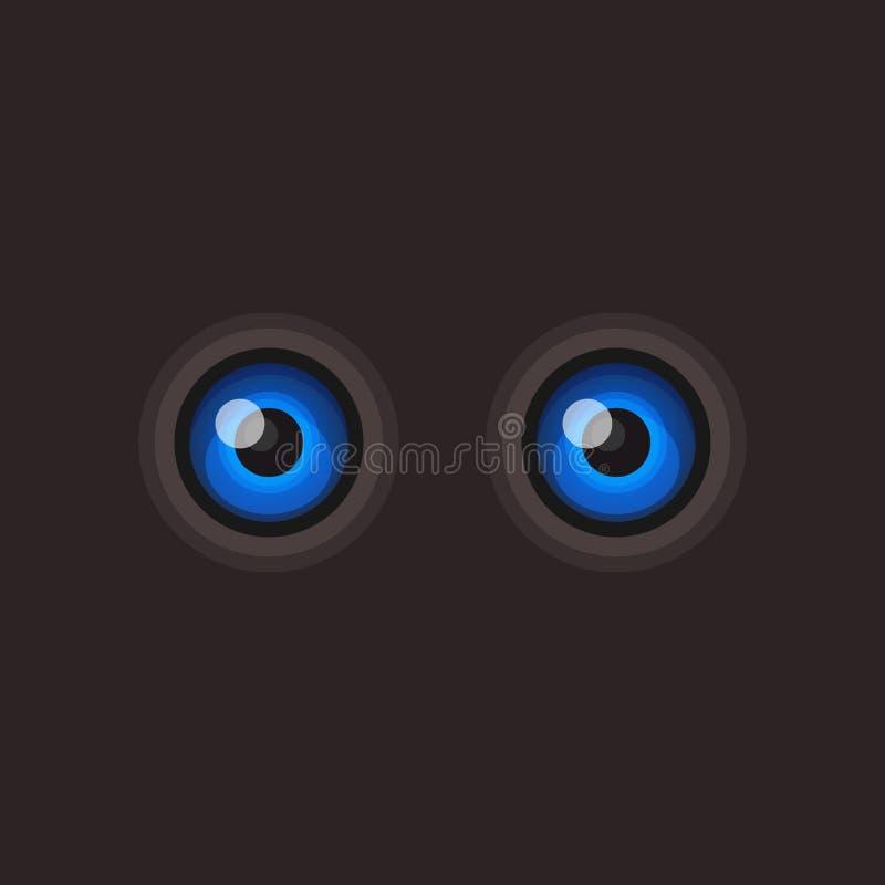 在黑暗的背景的蓝色动画片眼睛 向量 皇族释放例证
