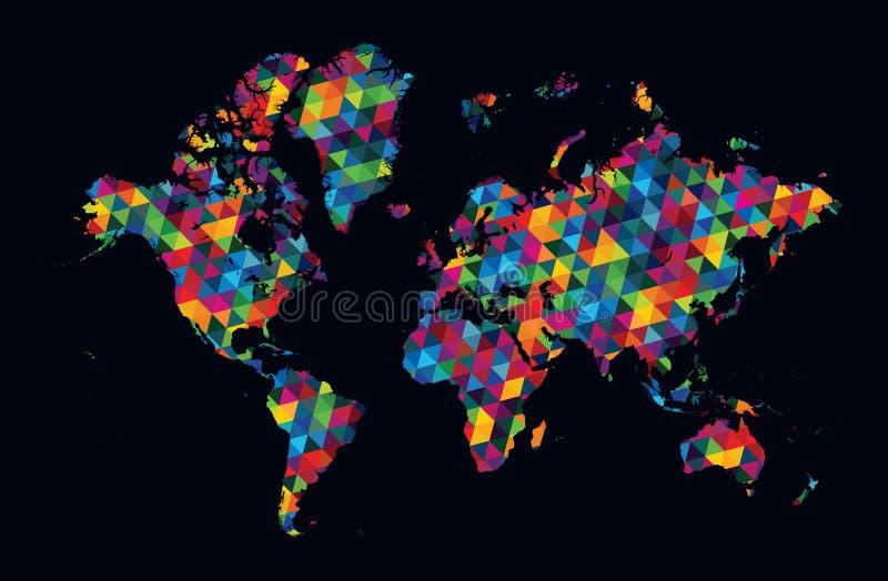 在黑暗的背景的装饰世界地图现代几何样式 库存例证
