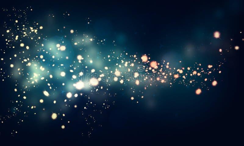在黑暗的背景的闪烁的星 向量例证
