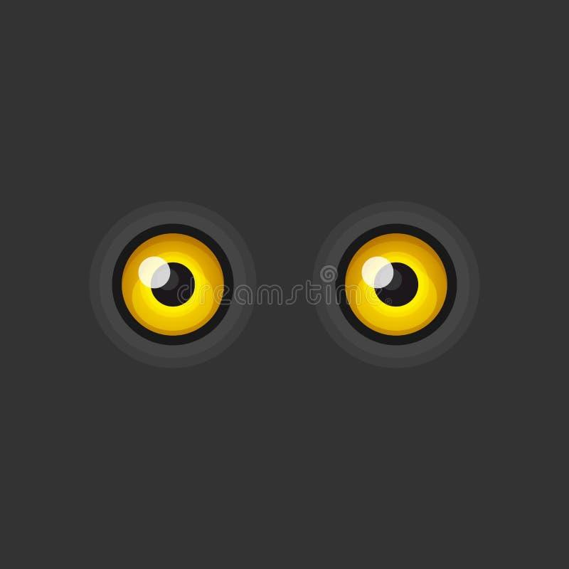 在黑暗的背景的黄色动画片眼睛 向量 库存例证