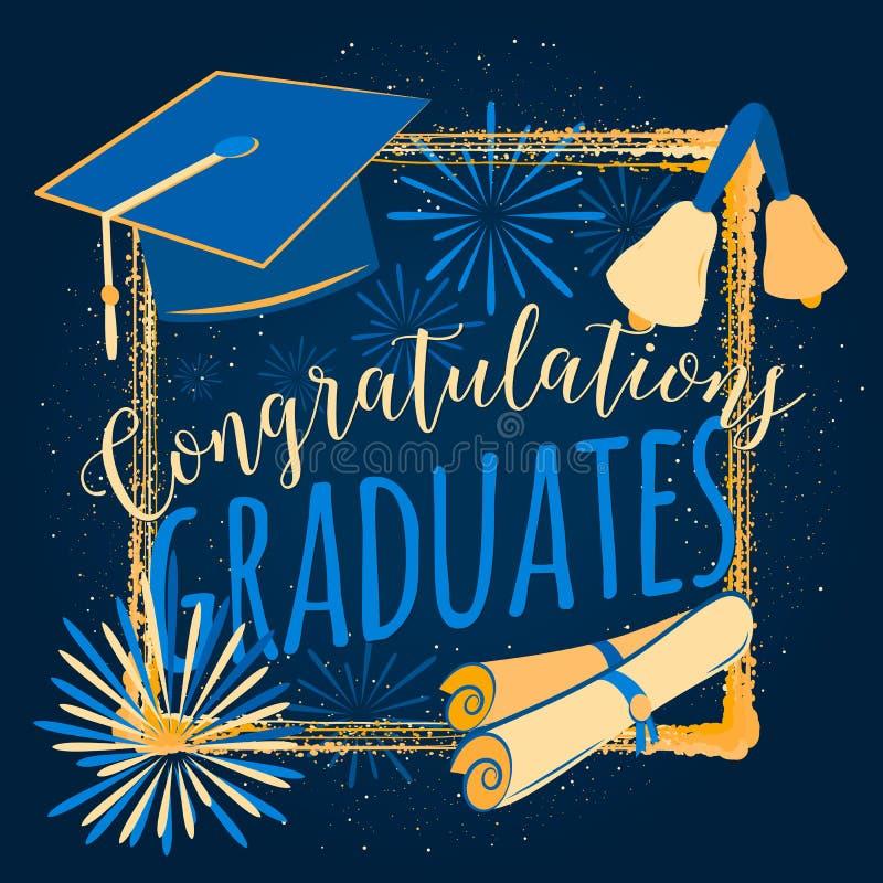 在黑暗的背景祝贺的传染媒介例证毕业2016类,毕业晚会的颜色设计 向量例证