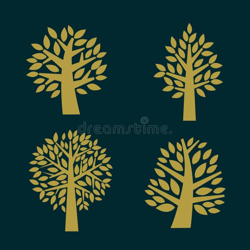 在黑暗的背景隔绝的树标志,例证 向量例证