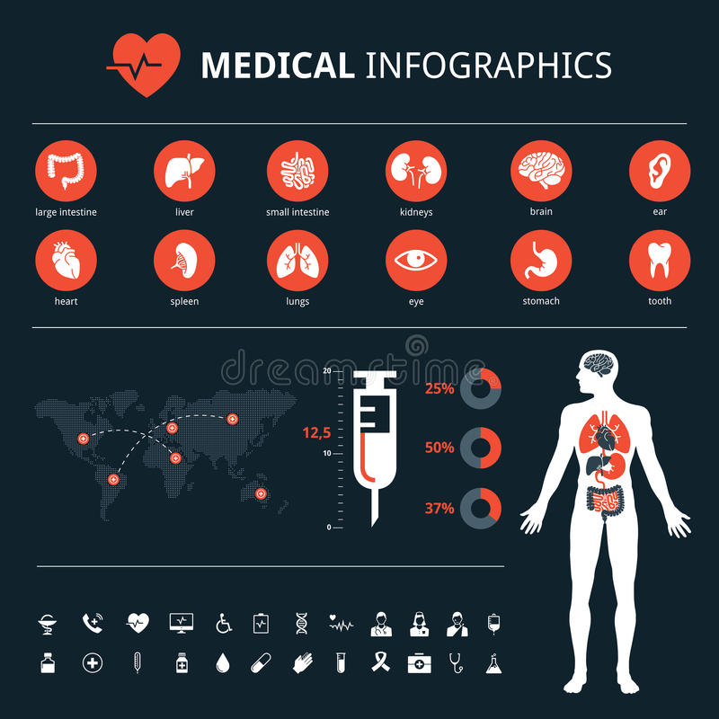 在黑暗的backgroundMedical人体器官象的医疗系统连接象集合设置了与人体和世界地图信息图表 库存例证