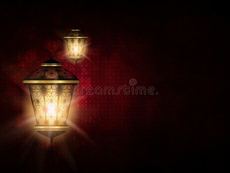 在黑暗的eid Al fitr背景的发光的灯笼 库存例证
