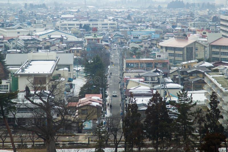 在2014年2月28日的市中心在福岛,日本 免版税库存图片
