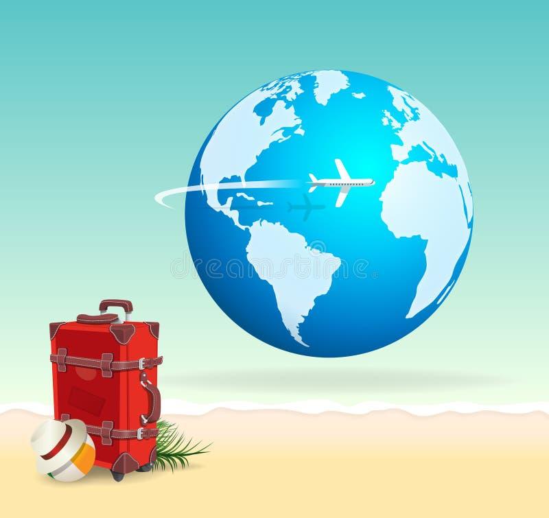 在晴朗的海滩的红色假期旅行手提箱与地球 皇族释放例证