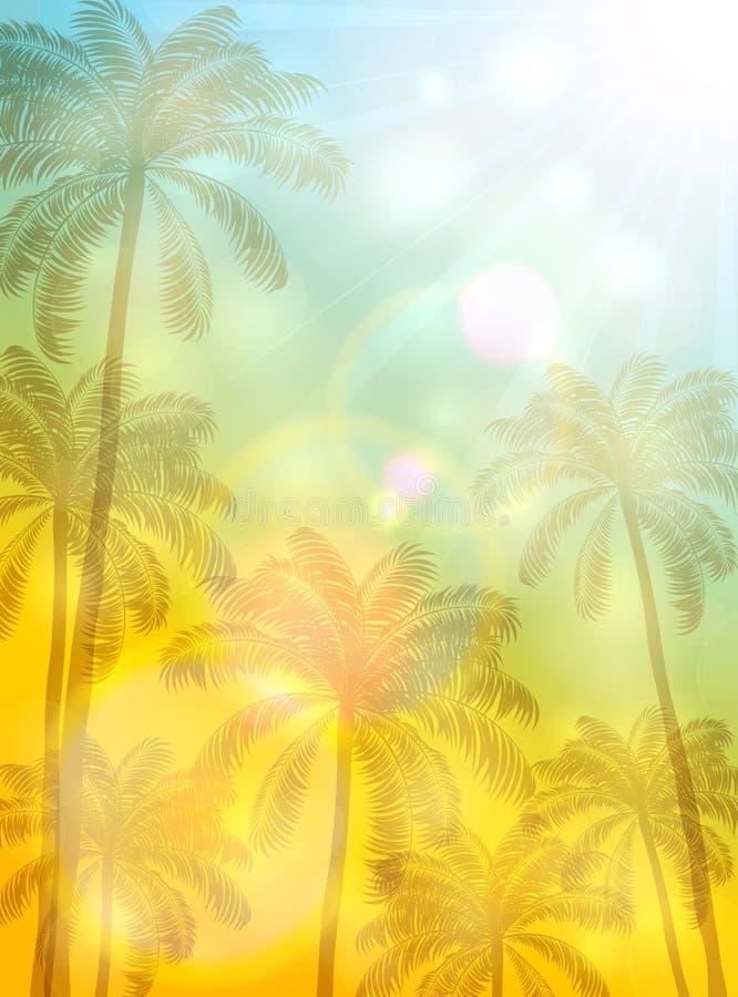 在晴朗的背景的棕榈 库存例证