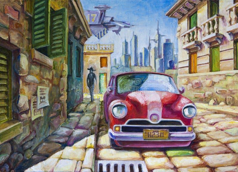 在晴朗的街道的老红色汽车 库存例证