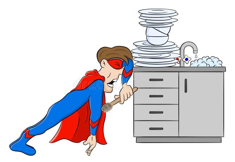 在绝望的英雄洗涤的盘 向量例证