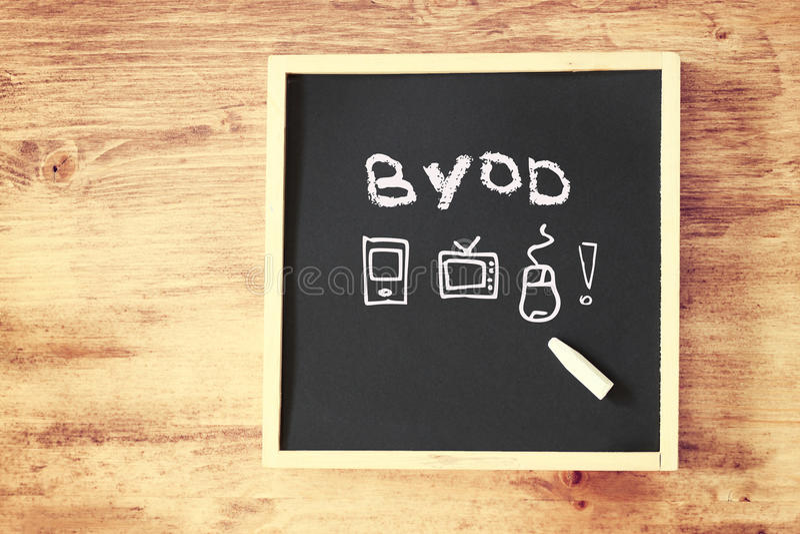 在黑板写的Byod概念 库存照片
