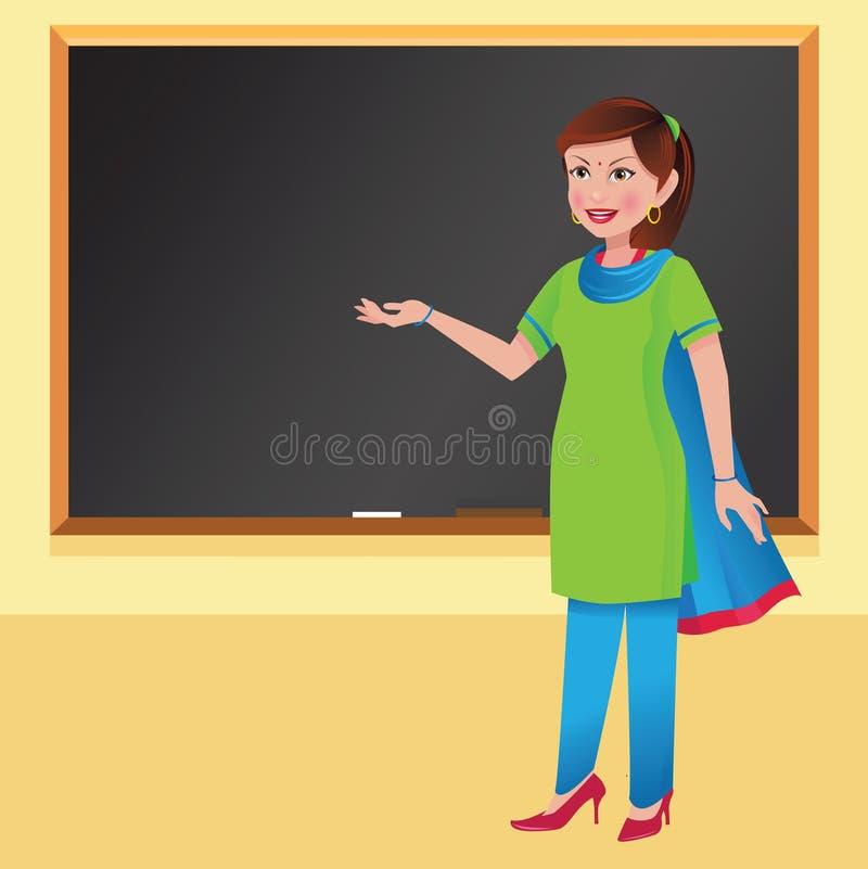在黑板前面的印地安妇女老师 免版税库存图片