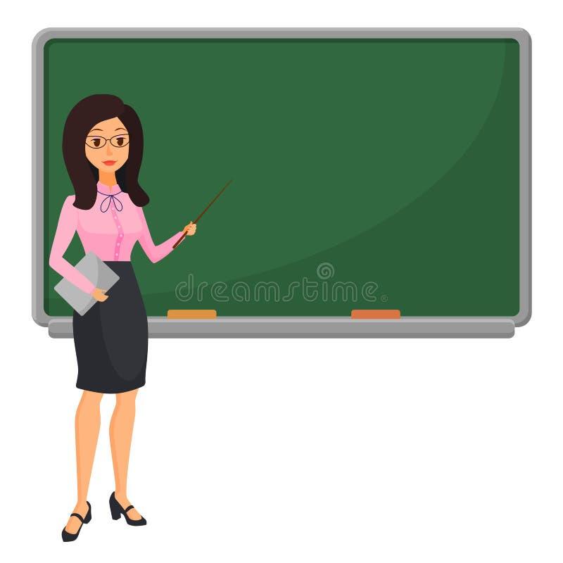在黑板教的学生附近的年轻女老师在教室在学校、学院或者大学 平的设计动画片 库存例证
