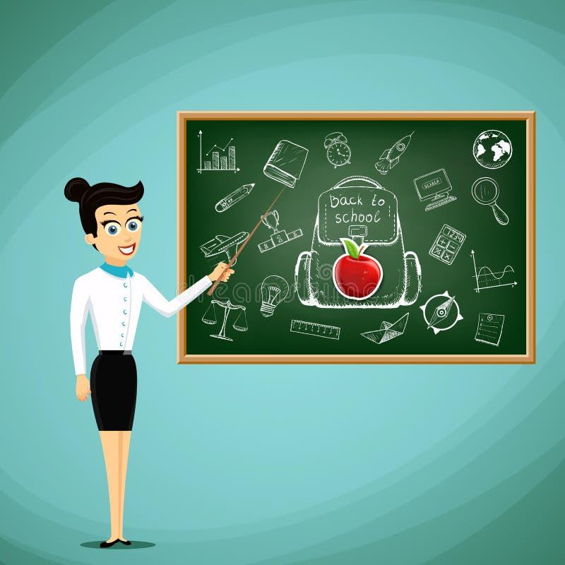 在黑板旁边的老师立场 回到学校 储蓄vect 向量例证