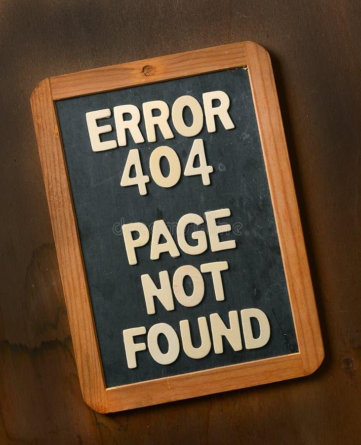 在黑板没找到的错误404页 免版税图库摄影